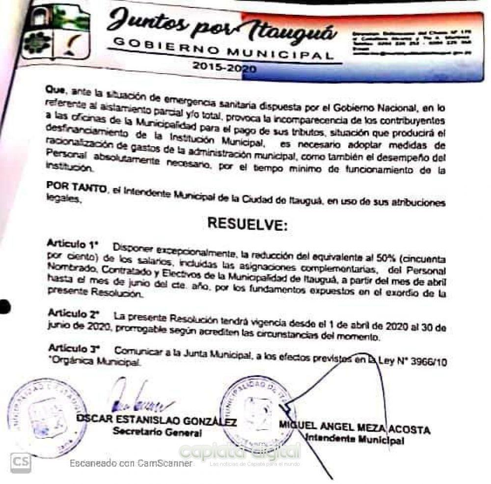 Municipalidad de Itauguá reduce al 50 por ciento salario de funcionarios